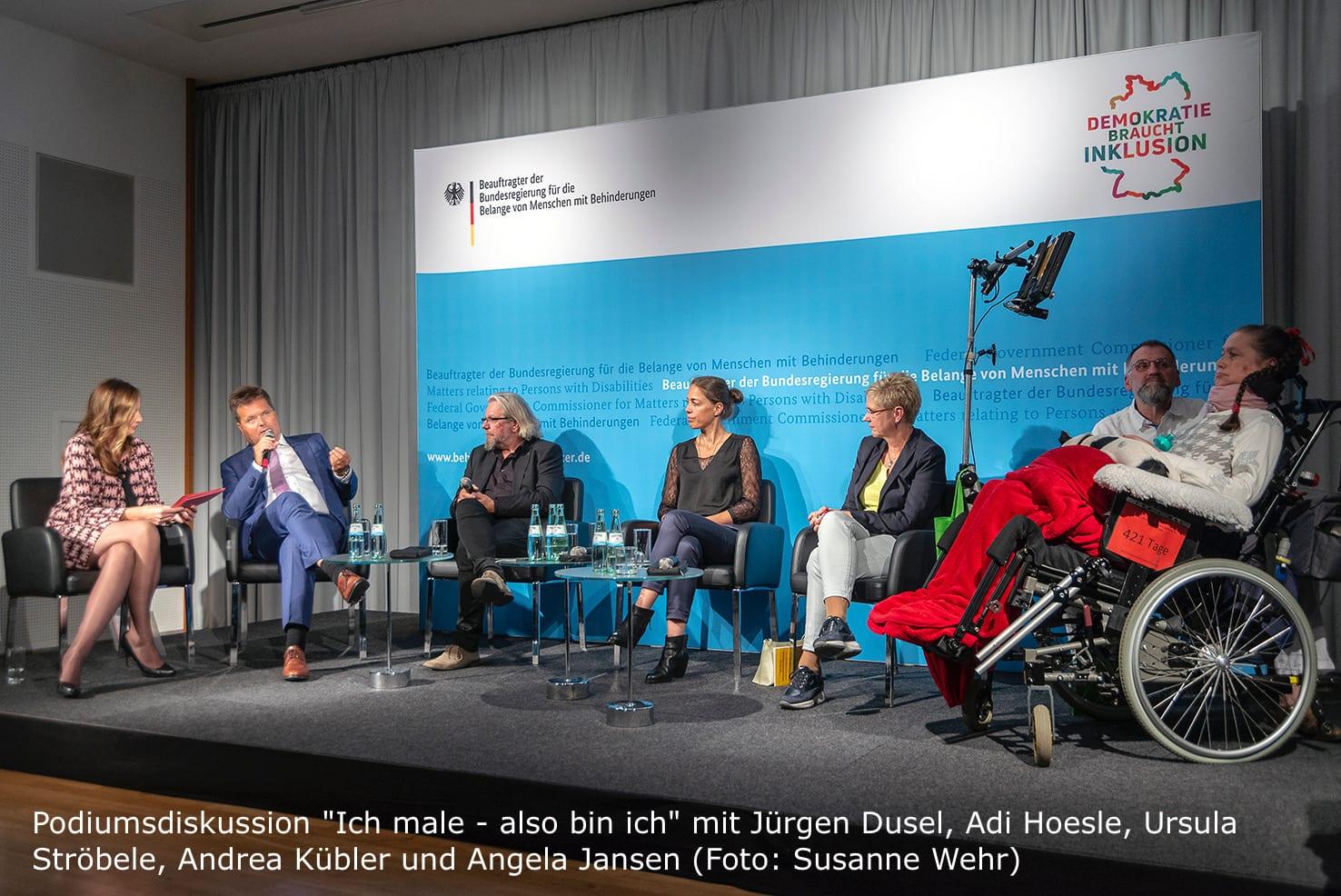 Podiumsdiskussion  Moderatorin Kristina zur Mühlen  Jürgen Dusel  Adi Hoesle  Ursula Ströbele  Andrea Kübler  Angela Jansen