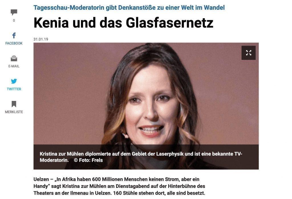 Bildschirmfoto az-online | Schnappschuss Kristina zur Mühlen