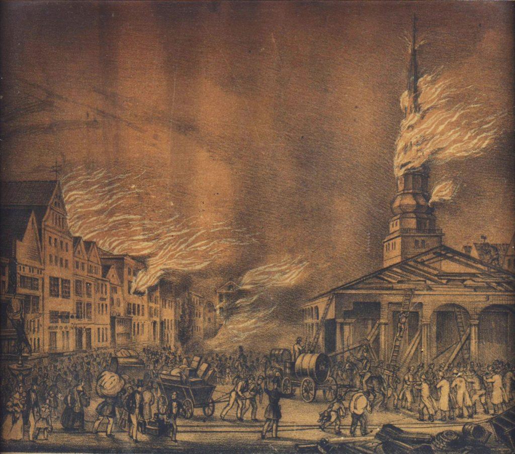 Hopfenmarkt und Nicolaikirche in Flammen. Der verhängnisvolle 5. Mai 1842. Zeitgenössische Druckgraphik
