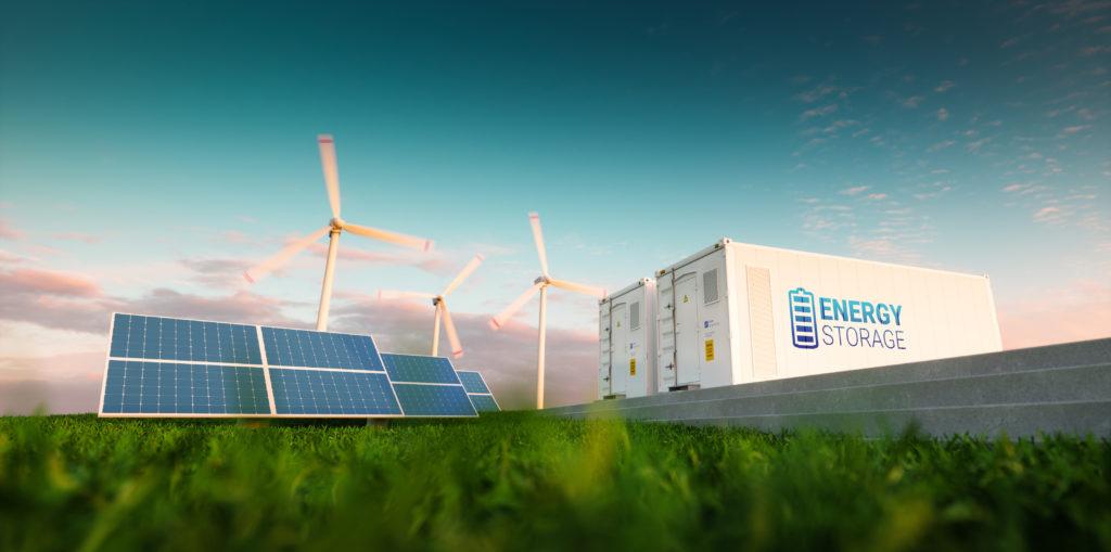 Solaranlage, Wimndräder und Energiespeicher