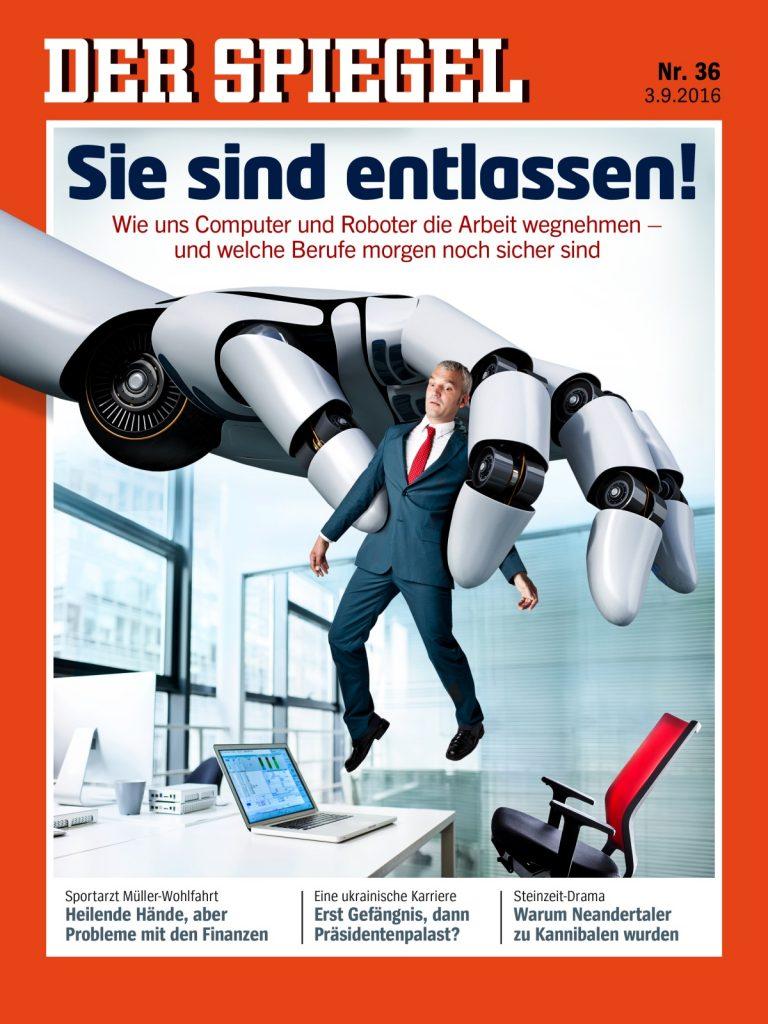 Große Roboterhand entfernt Angestellten