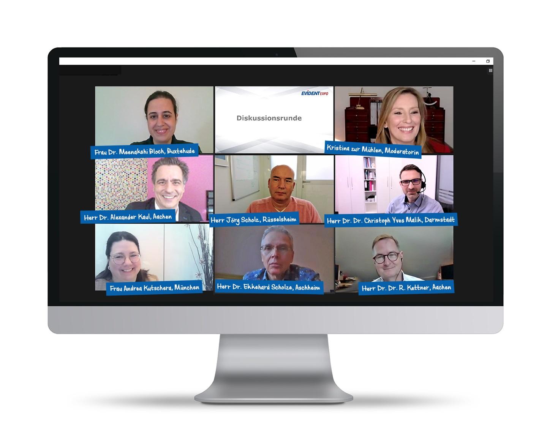 Podiumsdiskussion |Bildschirm mit 7 Teilnehmern und Moderatorin Kristina zur Mühlen