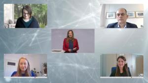 Kristina zur Mühlen  Bildschirmansicht der Paneldiskussion mit 4 Gästen