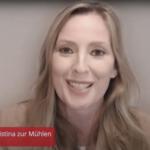 Kristina zur Mühlen begrüßt zur Online-Diskussionsrunde  Screenshot Bildschirmansicht
